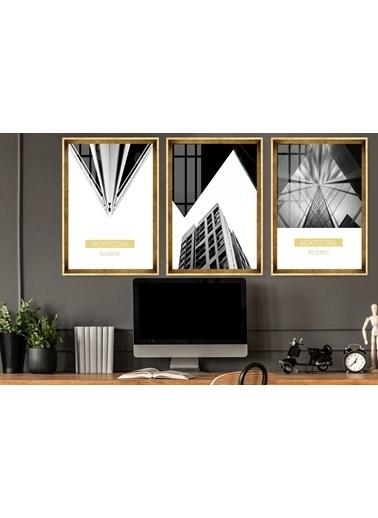 Çerçeve Home  Architectural Movent Gold Çerçeve Tablo Seti Altın
